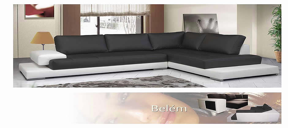 Sofa com chaiselong em pele sintetica for Sofa con chaise longue